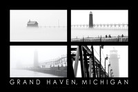 Foggy Pier, Grand Haven Poster