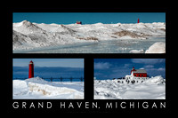 Lighthouse in Winter, Grand Haven Poster