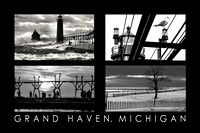 The Pier in Black & White, Grand Haven Poster